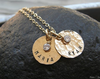 Your name / word - 2 gold filled discs with CZ ---- Design By SimaG