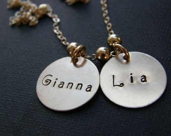 Personalized Gold Double Disc Necklace ---- Your Name Your Word -- By Simag