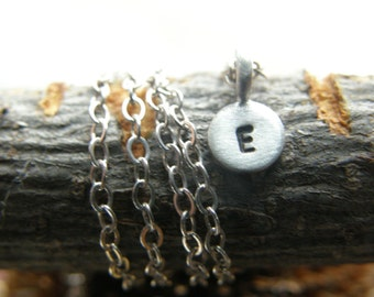 One little Tiny Disc ----personalized it - Sterling Silver Stamped With Your Initial - Simag