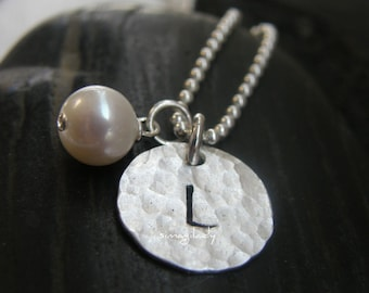 CUSTOM ORDER FOR ---baumertka----------2 single initial stamped on hammeredsterling silver Thick disc-  personalized it - Simag