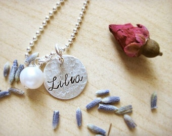 Custom order for katie---- The price is for 2 discs------Your word stamped in CURSIVE on HAMMERED sterling silver Thick small  disc- Simag