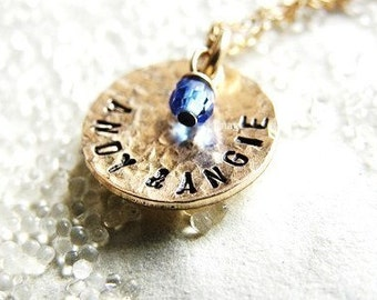 One Dainty Hammered Gold Disc - Personalized It --- Simag