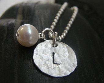 Your Initial -  On A Sterling Silver Round Hammered Disc With A Pearl - STAMPED BY SIMAG