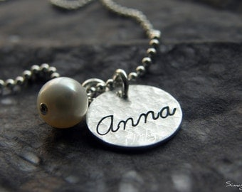 Mother Necklace - Your name - Your word stamped in CURSIVE on HAMMERED sterling silver Thick disc- Simag