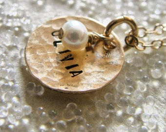June's Birthday - One Dainty Hammered Gold Disc Stamped With Your Name  --- Personalized It --- Simag