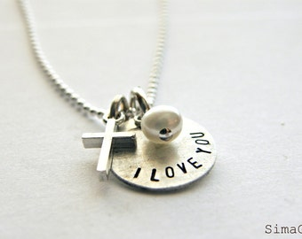 Personalized It    - - - - Simple Sterling Disc With Sterling Cross- - - - -Simag