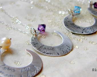 I love you to the moon and back -inspired by the children's book - Hand Stamped Sterling Silver By Simag