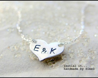 Initial it ...Mini  Sterling Silver Heart    -   handmade & handstamped by ....... SIMAG