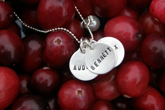 THREE small sterling discs - MOMMY necklace --- handstamped by Simag