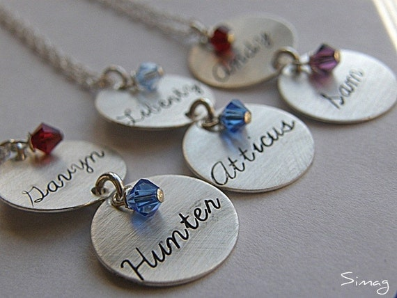 Personalize It -   double tag - With Your (or) Your Word  in cursive -On Sterling Silver Disc With Your Birthstone    - TWO DISCS  By SimaG