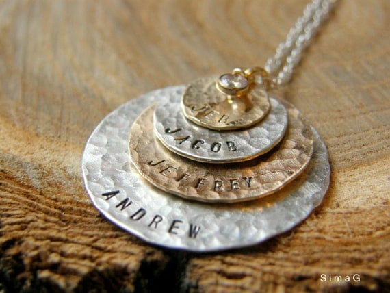 Hand Stamped Jewelry - Personalized Your Charm - Two Tone Necklace -  ( gold filled ) and ( sterling silver )  with CZ - 4 discs -Simag