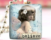 Glass Tile Pendant Necklace With Free Chain ( Believe )