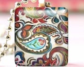 Glass Tile Pendant With FREE Chain ( Colorful Paisley )