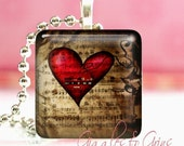 Glass Tile Pendant Necklace With Free Chain ( Grunge Heart )