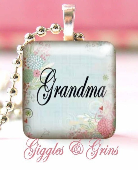 Glass Tile Pendant With FREE Chain (Personalized Grandma) Makes a great gift