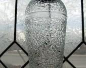 Vintage Crackle Glass Cocktail Shaker, with Aluminum Lid, Strainer