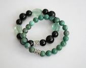 Jade and onyx stretch bracelets-pair SALE
