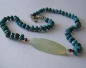 Faceted Turquoise and Serpentine Necklace