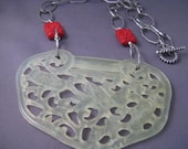 RESERVED FOR LYNNE Carved Serpentine and Cinnabar Necklace