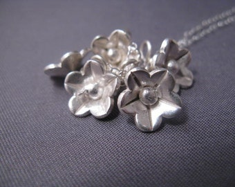 Lovely Sterling Silver Necklace with Many Flower Charms