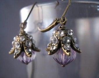 Ornate Brass, Rhinestone, and Glass Earrings