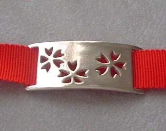 Red Cherry Blossom Sakura Ribbon Bracelet or Choker Necklace