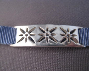 Silver Starburst Ribbon Bracelet or Choker Necklace - Steel blue