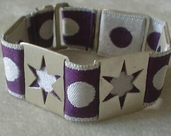 Silver Star Bracelet on Purple Dot Ribbon