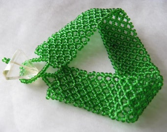 Grass Green Woven Bead Bracelet with Faceted Citrine Triangle