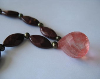 Mookaite, Freshwater Pearl, and Cherry Quartz Necklace