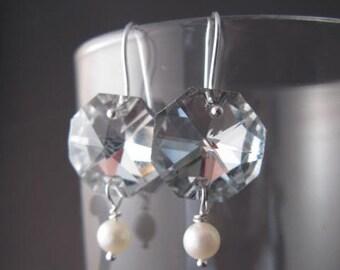 Glamorous Crystal and Pearl Earrings