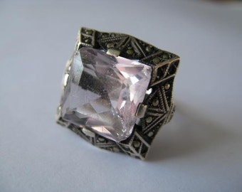 Vintage Sterling Silver and Amethyst Deco Ring