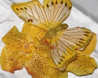 Bridal Hair Wedding Flower Girl  Orchid Flower Hair Comb Fascinator Yellow Vanda Orchid Jeweled Butterfly