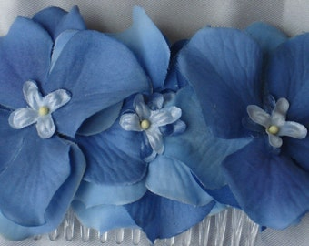 Bridal Hair Wedding Floral Hair Comb Fascinator in Blue Hydrangeas