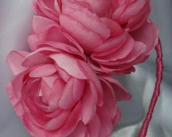 Bridal Hair Wedding Hair Flower Crown Flower Girl Headband Hot Pink Ranunculus Bridesmaid Fascinator