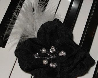 Wedding Hair Bridal Hair Black White Flower Hair Clip Pearl Rhinestone Fascinator