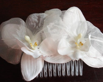 Bridal Hair Wedding Hair White Orchid Flower Hair Comb Fascinator Headpiece