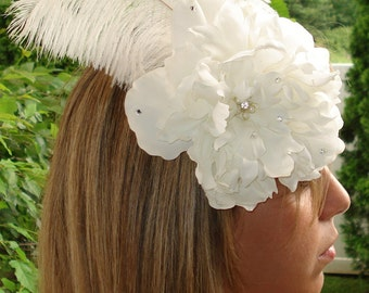 Bridal Hair Wedding Hair Feather Fascinator Flower Headpiece Flower Hair Comb White Peony with Feathers