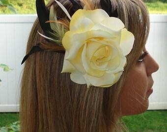 Bridal Hair Wedding Hair Rose Hair Clip Yellow Rose Feather Fascinator