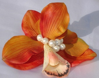 Bridal Hair Wedding Hair Orange Orchid Pearl Fascinator Hair Clip