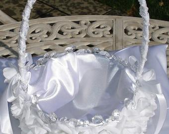 Bridal Basket Wedding Basket Flower Girl Basket White Roses Crystal Rhinestones