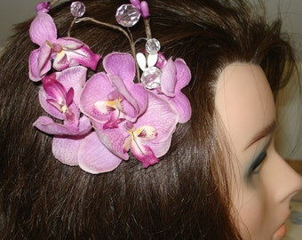 Bridal Hair Wedding Hair Flower Hair Clip Orchid Headpiece Floral Hair Clip Lavender Fascinator Berries Rhinestones