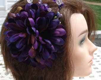 Bridal Hair Wedding Hair Purple Flower Hair Clip Headpiece Fascinator Berries n Crystals