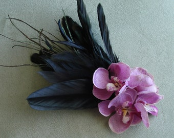 Bridal Hair Wedding Hair Bridesmaid Hair Lavender Orchid Hair Clip Fascinator Feather Hair Clip