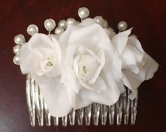 Bridal Hair Wedding Hair Flower Hair Comb Fascinator White Rose with Pearls