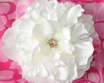 Bridal Hair Wedding Hair Flower Hair Clip Peony Headpiece Fascinator Swarovski Crystals