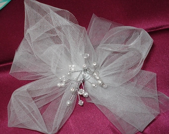 Bridal Hair FlowerGirl White Tulle Hair Clip Fascinator Rhinestones n Pearls