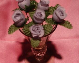 Bridal Hair Wedding Hair Bridesmaid Flower Girl Lavender Rosebud Hairpins (Set of 6)