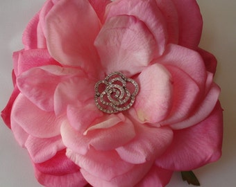 Bridal Hair Wedding Hair Flower Hair Clip Pink Rose Fascinator Flower Headpiece Swarovski Crystals