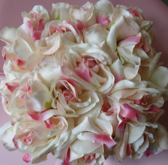 Bridal Pillow Ring Pillow Wedding Pillow Ringbearer Pillow Cream Pink Roses